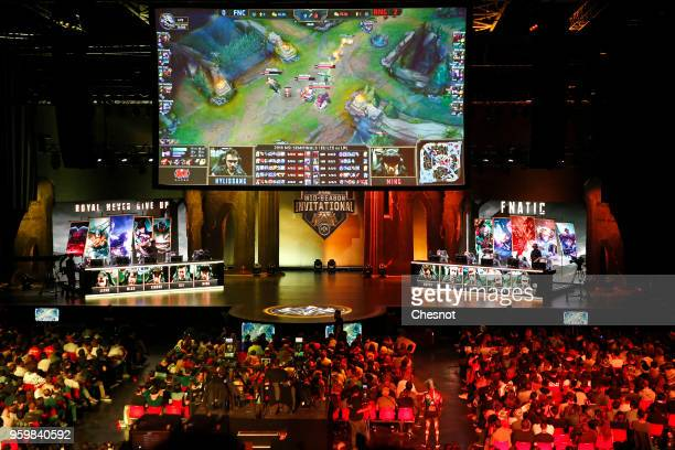 Fans watch an eSports tournament with the game League of Legends during the Mid Season Invitational League of Legends at the Zenith on May 18 2018 in...