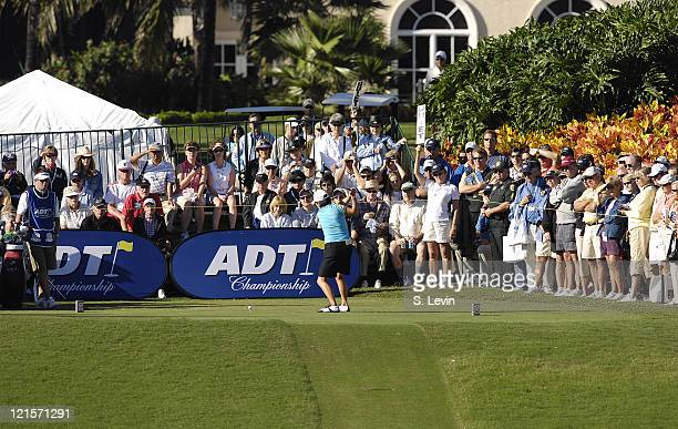Fans watch as Il Mi Chung tees off during the fourth and final round of the ADT Championship at the Trump International Golf Club in West Palm Beach...