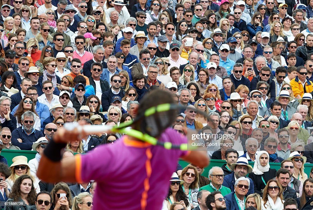 Fans watch as Rafael Nadal of Spain plays Albert Ramos-Vinolas of Spain in the final during day eight of the ATP Monte Carlo Rolex Masters Tennis at Monte-Carlo Sporting Club on April 23, 2017 in Monte-Carlo, Monaco.