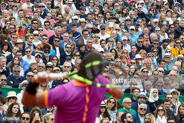 Fans watch as Rafael Nadal of Spain plays Albert RamosVinolas of Spain in the final during day eight of the ATP Monte Carlo Rolex Masters Tennis at...