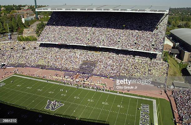 Fans watch as Stanford takes on Washington on September 27, 2003 at Husky Stadium in Seattle, Washington. Washington won 28-17.