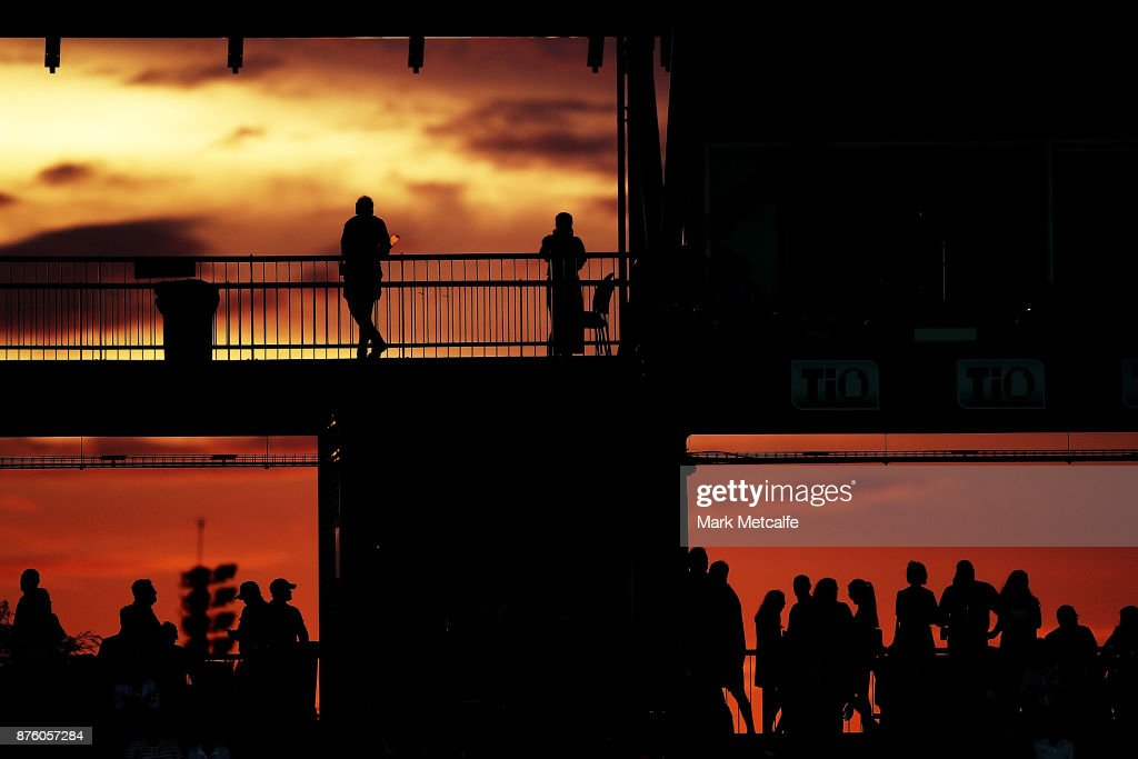 Fans watch as the sun sets during the 2017 Rugby League World Cup Quarter Final match between Australia and Samoa at Darwin Stadium on November 17, 2017 in Darwin, Australia.