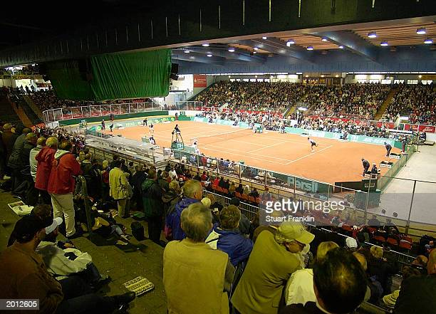 Fans watch at the Ice stadium during the match between Tomas Behrend of Germany against Marcel Rios of Chile in The Arag World Team Cup on May 19...