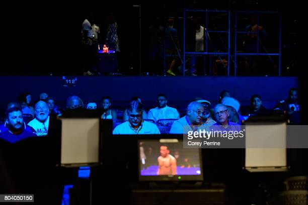 Fans watch Avery Sparrow fight Isaelin Florian during a lightweight bout at the Sands Bethlehem Event Center on June 27 2017 in Bethlehem...