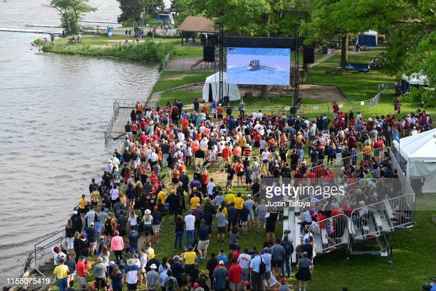 Fans watch boats race during the Division I Women's Rowing Championship held at the Indianapolis Rowing Center on June 2 2019 in Indianapolis Indiana