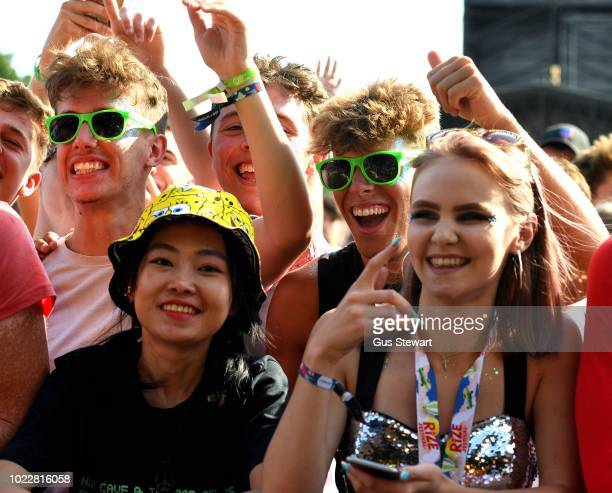 Fans watch Circa Waves on the main stage at RiZE Festival on August 17, 2018 in Chelmsford, United Kingdom.