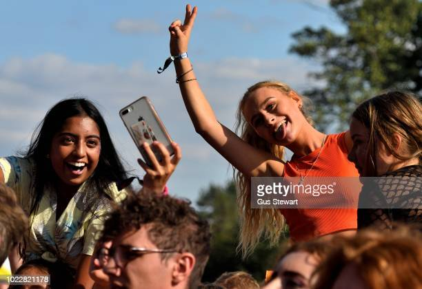Fans watch Circa Waves on the main stage at RiZE Festival on August 17 2018 in Chelmsford United Kingdom