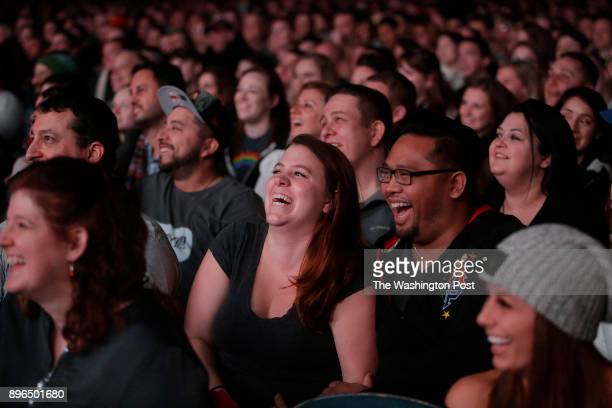 Fans watch comedians of Impractical Jokers Sal Vulcano James Murray Joseph Gatto and Brian Quinn perform at the Allstate Arena in Rosemont Illinois...