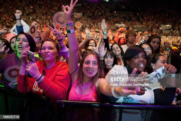 Fans watch Conor Maynard live performce on stage at the Primavera Pop 2013 music festival in Palacio de Vistalegre on May 18 2013 in Madrid Spain