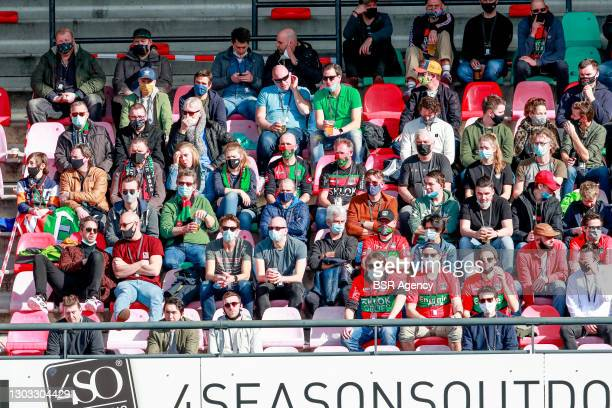 Fans watch during a corona field-test, trial during the Dutch Keukenkampioendivisie match between NEC and De Graafschap at Goffertstadion on February...