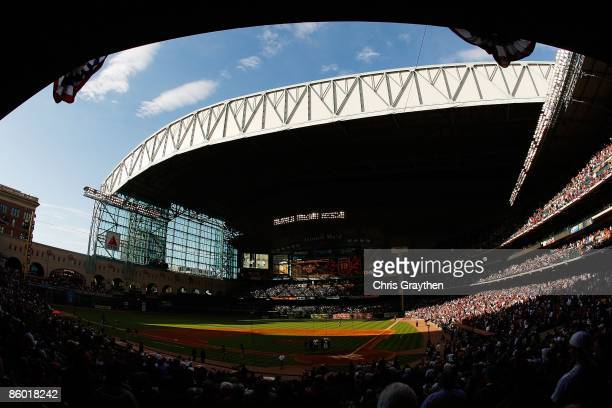 Fans watch during pregame before the Opening Day game between the Chicago Cubs and the Houston Astros on April 6 2009 at Minute Maid Park in Houston...