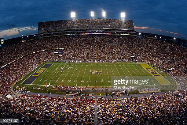 Fans watch during the game between the Louisiana State University Tigers and the University of Louisiana-Lafatette Ragin' Cajuns at Tiger Stadium on...
