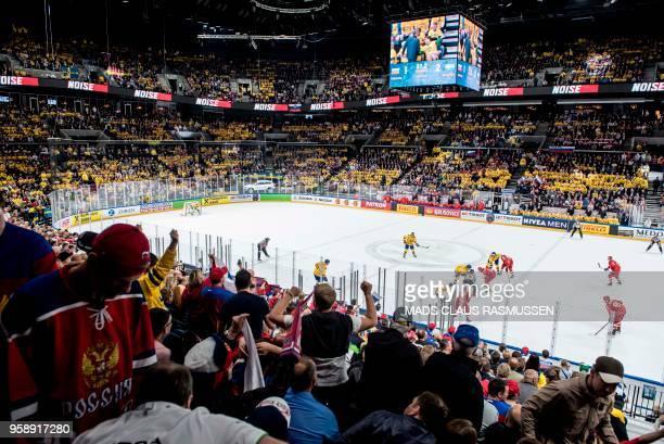 Fans watch during the group A match Russia v Sweden of the 2018 IIHF Ice Hockey World Championship at the Royal Arena in Copenhagen Denmark on May 15...