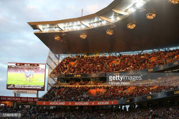 Fans watch during the round 1 Super Rugby Aotearoa match between the Blues and the Hurricanes at Eden Park on June 14, 2020 in Auckland, New Zealand.