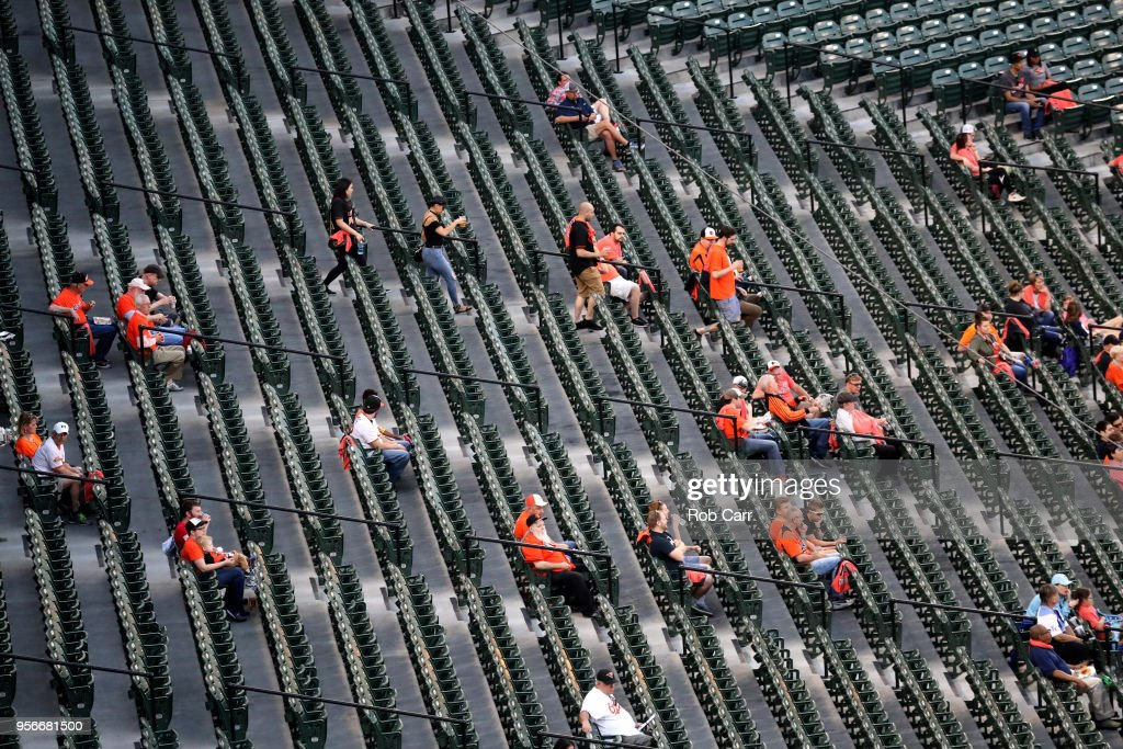 Fans watch during the third inning of the Baltimore Orioles and Kansas City Royals game at Oriole Park at Camden Yards on May 9, 2018 in Baltimore, Maryland.