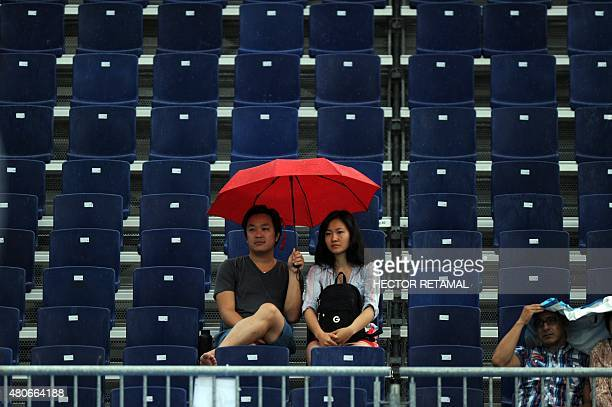Fans watch during the Women's Beach Volleyball Preliminary Brazil against Chile at the 2015 Pan American Games in Toronto Canada on July 14 2015...