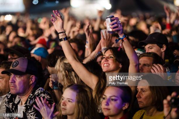 Fans watch Fontaines D.C. Perform on the Mountain Stage during the 2021 Green Man Festival on August 22, 2021 in Crickhowell, United Kingdom. The...