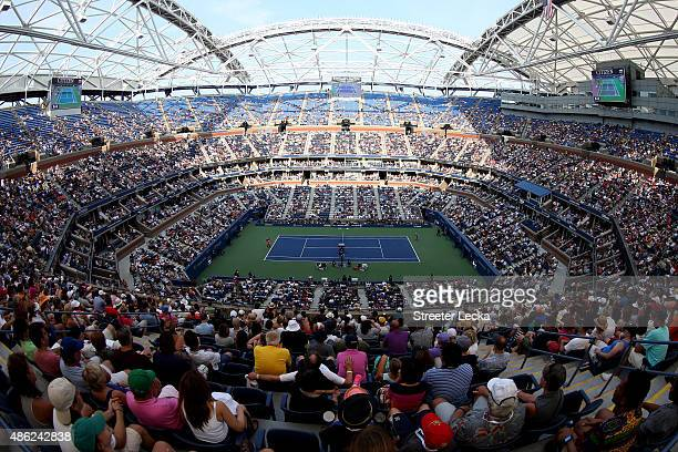 Fans watch from Arthur Ashe Stadium as Serena Williams of the United States plays against Kiki Bertens of the Netherlands during their Women's...