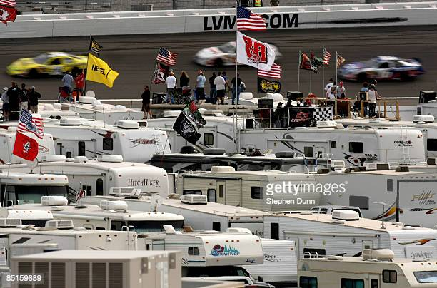 Fans watch from atop their RV's in the infield during the NASCAR Nationwide Series Sam's Town 300 at the Las Vegas Motor Speedway on February 28 2008...