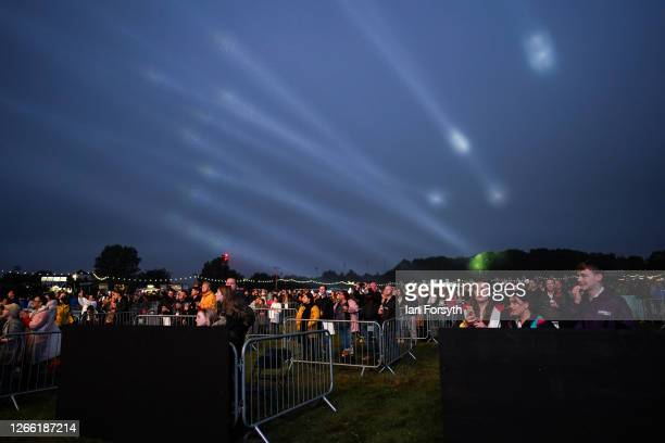 Fans watch from socially distanced enclosures as Sam Fender performs at Virgin Money Unity Arena on August 13, 2020 in Newcastle upon Tyne, England....