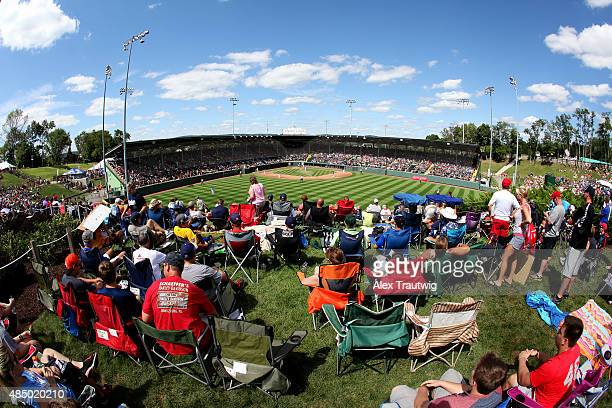 Fans watch from the hill overlooking Lamade Stadium during Day 2 of the Little League World Series on Friday August 21 2015 in Williamsport...