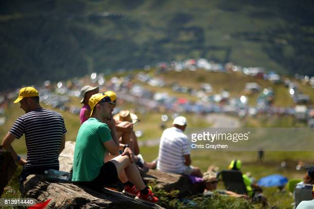 Fans watch from the top of the Peyragudes climb during stage 12 of the 2017 Le Tour de France a 2145km stage from Pau to Peyragudes on July 13 2017...