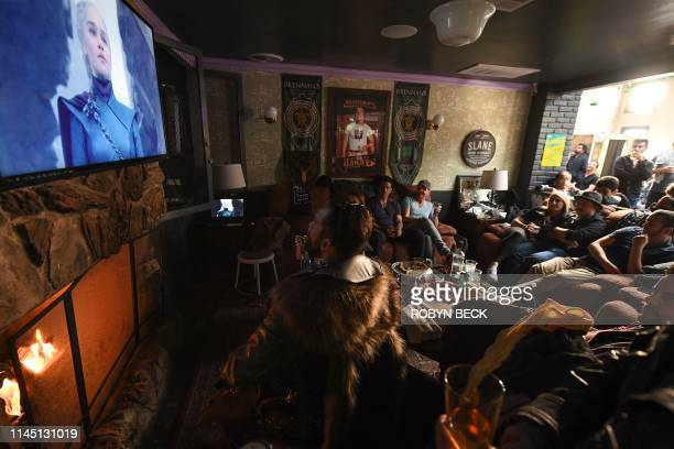 "Fans watch HBO's ""Game of Thrones"" series finale at a viewing party at Brennan's bar in Marina del Rey, California, May 19, 2019."