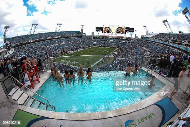 Fans watch kickoff in nearly 80degree weather during the game between the Jacksonville Jaguars and the Indianapolis Colts at Everbank Field in...