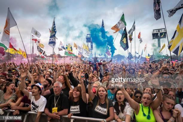 Fans watch Liam Gallagher during day four of Glastonbury Festival at Worthy Farm, Pilton on June 29, 2019 in Glastonbury, England.