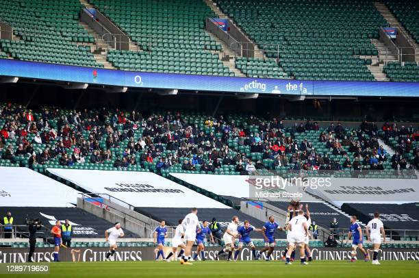 Fans watch on as a lineout takes place during the Autumn Nations Cup Final & Quilter International between England and France at Twickenham Stadium...