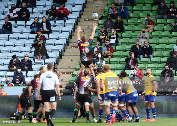 Fans watch on during the Gallagher Premiership match between Harlequins and Bath Rugby at Twickenham Stoop London