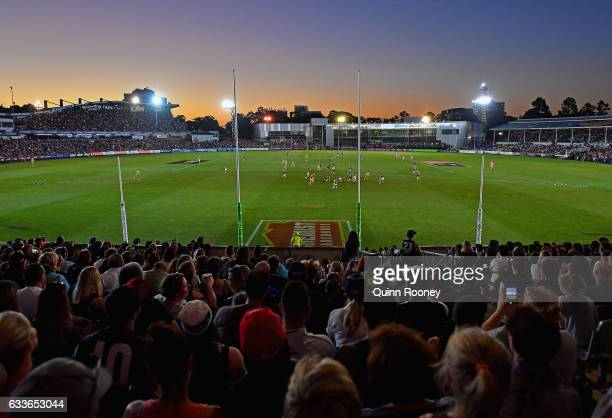 Fans watch on during the round one Women's AFL match between the Collingwood Magpies and the Carlton Blues at Ikon Park on February 3 2017 in...