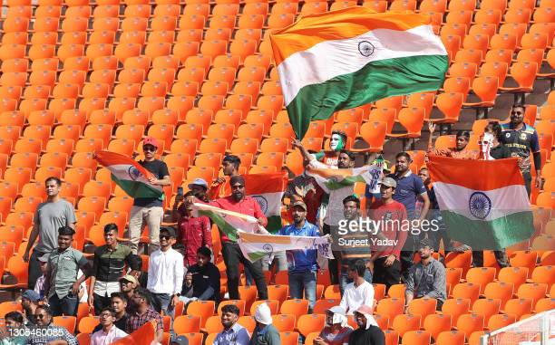 Fans watch on from the stands during Day Two of the 4th Test Match between India and England at Sardar Patel Stadium on March 05, 2021 in Ahmedabad,...