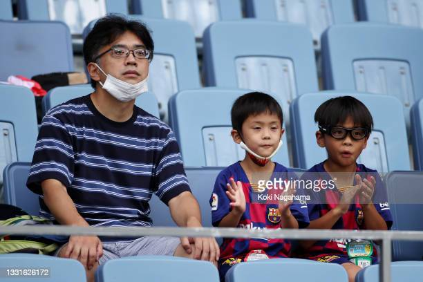 Fans watch on from the stands during the Men's Quarter Final match between Spain and Cote d'Ivoire on day eight of the Tokyo 2020 Olympic Games at...