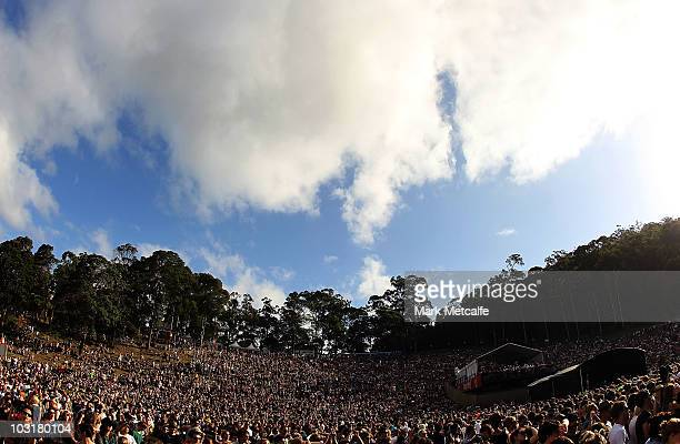 Fans watch performers from the amphitheatre during Day 2 of the Splendour in the Grass music festival at Woodfordia on July 31, 2010 in Woodford,...