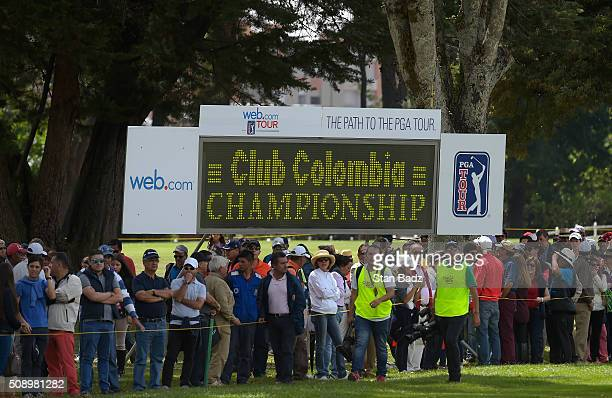 Fans watch play along the ninth hole during the final round of the Webcom Tour Club Colombia Championship Presented by Claro at Bogotá Country Club...