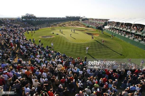 Fans watch play at the 16th green during the second round of the FBR Open held at TPC Scottsdale in Scottsdale Arizona on February 2 2007 Photo by...