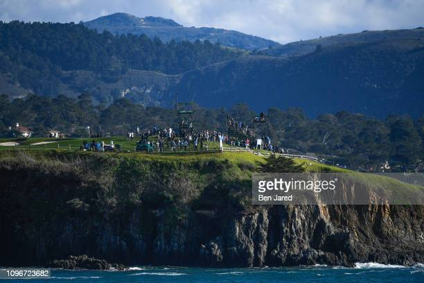 Fans watch play by the seventh hole tee box during the third round of the ATT Pebble Beach ProAm at Pebble Beach Golf Links on February 9 2019 in...