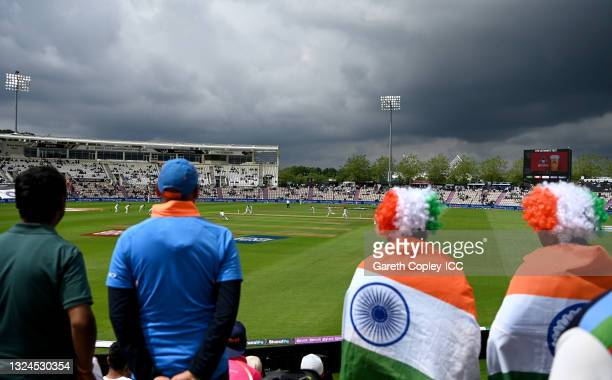 Fans watch play during Day 3 of the ICC World Test Championship Final between India and New Zealand at The Ageas Bowl on June 20, 2021 in...
