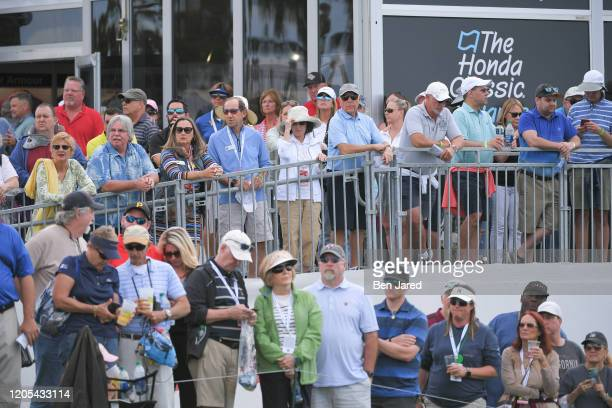 Fans watch play during the final round of The Honda Classic at PGA National Champion course on March 1 2020 in Palm Beach Gardens Florida