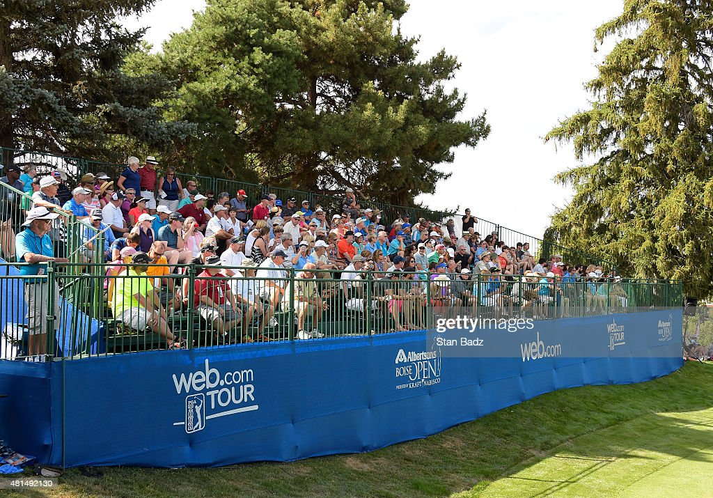 Fans watch play on the 18th hole during the final round of the Web.com Tour Albertsons Boise Open presented by Kraft Nabisco at Hillcrest Country Club on July 12, 2015 in Boise, Idaho.