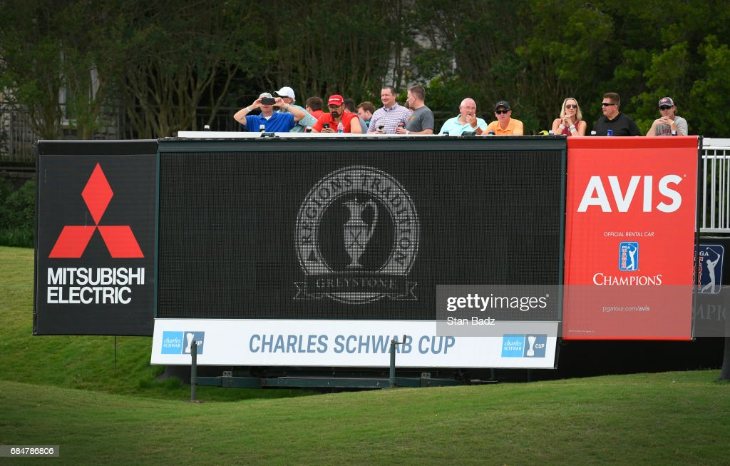 Fans watch play on the 18th hole during the first round of the PGA TOUR Champions Regions Tradition at Greystone Golf & Country Club on May 18, 2017 in Birmingham, Alabama.