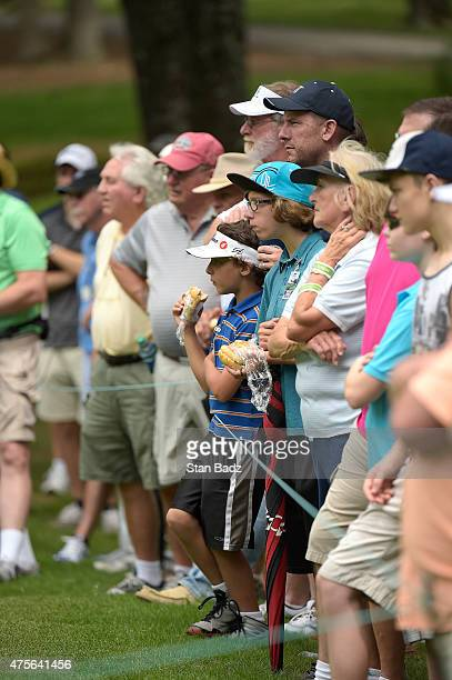 Fans watch play on the second hole during the final round of the Champions Tour Regions Tradition at Shoal Creek on May 17 2015 in Shoal Creek Alabama