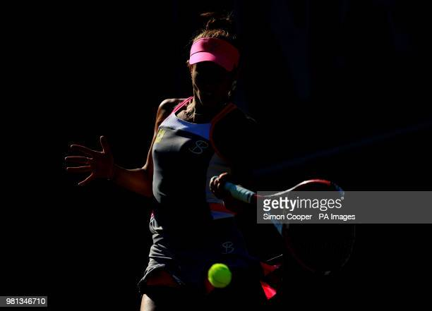 Fans watch Romania's Mihaela Buzarnescu in action during her quarter final against Ukraine's Elina Svitolina during day five of the Nature Valley...