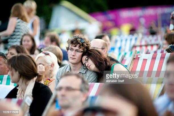 Fans watch Rufus Wainwright perform on stage at Kenwood House on July 3 2010 in London England