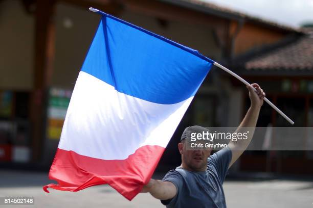Fans watch stage 13 of the 2017 Le Tour de France a 101km stage from SaintGirons to Foix on July 14 2017 in Foix France