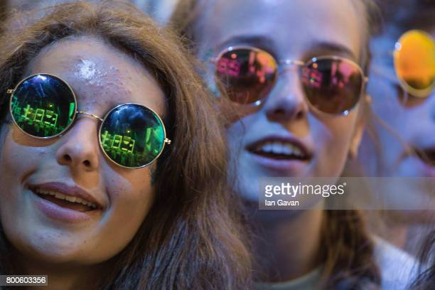 Fans watch Stormzy perform on day 3 of the Glastonbury Festival 2017 at Worthy Farm Pilton on June 24 2017 in Glastonbury England