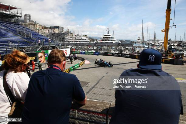 Fans watch the action as Marcus Armstrong of New Zealand and DAMS drives past during Sprint Race 1 of Round 2:Monte Carlo of the Formula 2...
