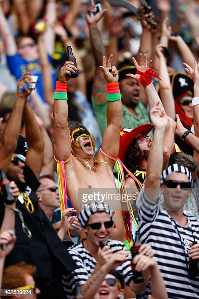Fans watch the action during the 2015 Auckland Nines at Eden Park on January 31, 2015 in Auckland, New Zealand.