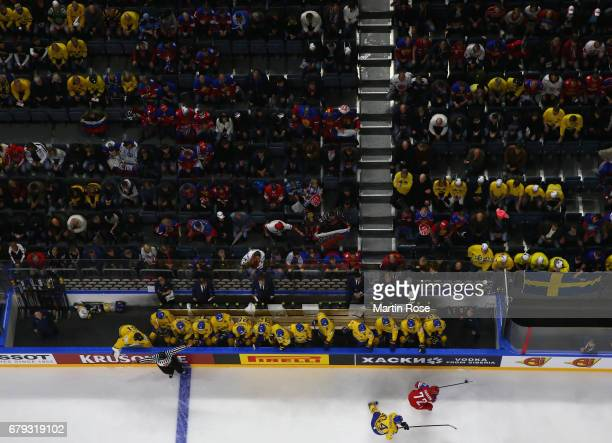 Fans watch the action during the 2017 IIHF Ice Hockey World Championship game between Sweden and Russia at Lanxess Arena on May 5 2017 in Cologne...
